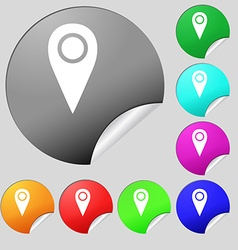 Map pointer icon sign Set of eight multi colored vector image