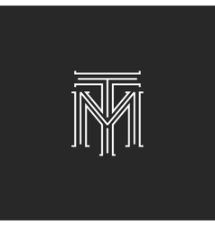 Monogram hipster initials TM logo letters vector image