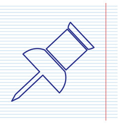 Pin push sign navy line icon on notebook vector
