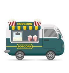 Popcorn street food caravan trailer vector