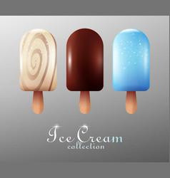 Realistic ice cream collection vector