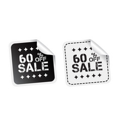 Sale sticker sale up to 60 percents black and vector