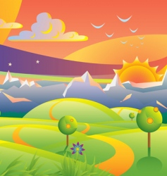 scenic sunset landscape vector illustration vector image vector image