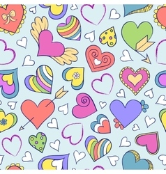 seamless pattern with hearts and other elements vector image