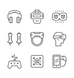 Set line icons of virtual reality vector image