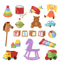 Set of different cartoon kids toys vector