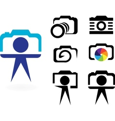 set of stylized photo cameras vector image vector image