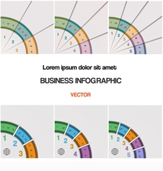 Set quarter ring chart template with text areas on vector image