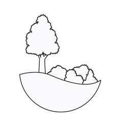 Tree and bushes landscape design outline vector