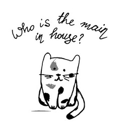 Who is the main in house funny lettering with cat vector