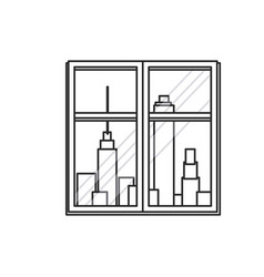 window urban building view outline vector image