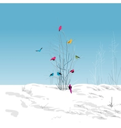 Winter landscape colorful birds in the tree vector image
