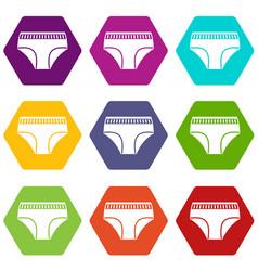 Woman cotton panties icon set color hexahedron vector