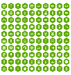 100 summer holidays icons hexagon green vector