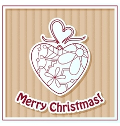 Merry christmas card on cardboard with toy vector