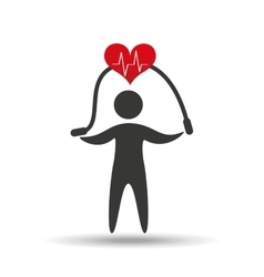 Athlete silhouette heart jump rope vector