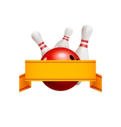 Bowling logo concept with ribbon bowling game vector