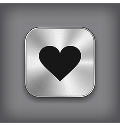 Heart icon - metal app button vector