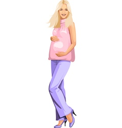 Pregnant blonde girl in pink vector