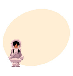 eskimo inuit black haired girl in sheepskin warm vector image