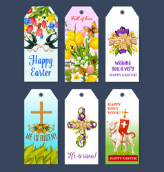 Easter holiday greeting tag and gift label set vector