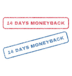 14 days moneyback textile stamps vector
