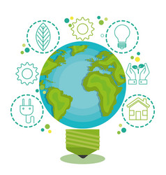 Green globe light bulb design vector