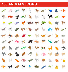 100 animals icons set isometric 3d style vector image