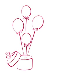 Open gift box with balloons for your holiday vector