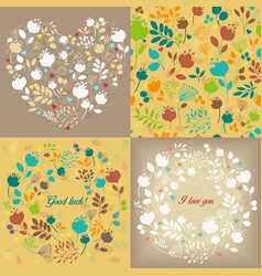 Spring graceful floral patterns set vector