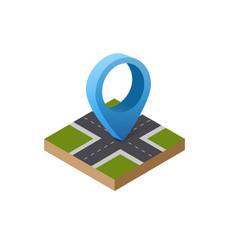 Navigation sign and pin symbol on city urban map vector