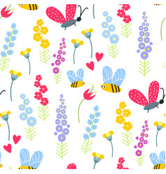 Nature summer flowers and bee insects vector