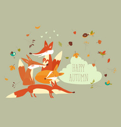 Cute forest foxes with autumn leaves vector