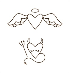 Angel and demon hearts isolated on white vector