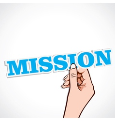 Mission word in hand vector