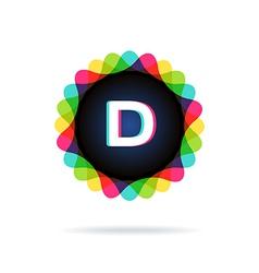 Retro bright colors logotype letter d vector
