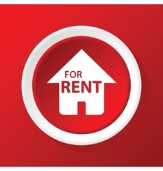 Rental house icon on red vector