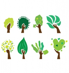 Set of hand trees vector