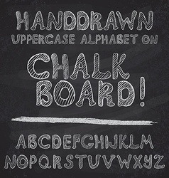 Hand drawn alphabet design on chalk board rough vector