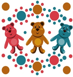 Seamless pattern with childrens teddy bears vector