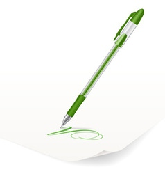 Image of green ballpoint pen writing on paper vector