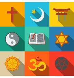 World religion symbols flat set - christian vector