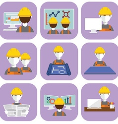 Engineer construction manufacturing worker flat vector