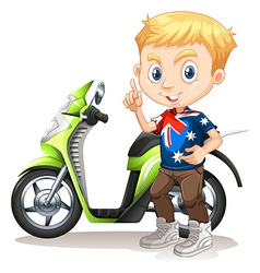 British boy and motorcycle vector