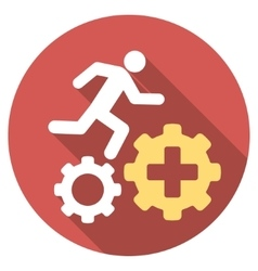 Treatment process flat round icon with long shadow vector
