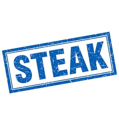 Steak blue square grunge stamp on white vector