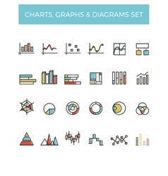 Diagram and graphs color line icons vector