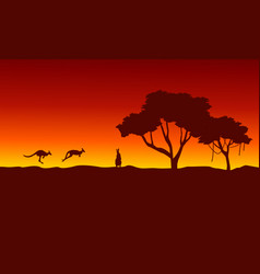At sunrise kangaroo scenery silhouettes vector
