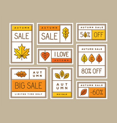 Autumn sale labels stickers tags or banners set vector