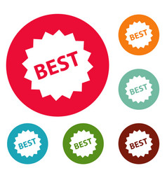 Best sign icons circle set vector